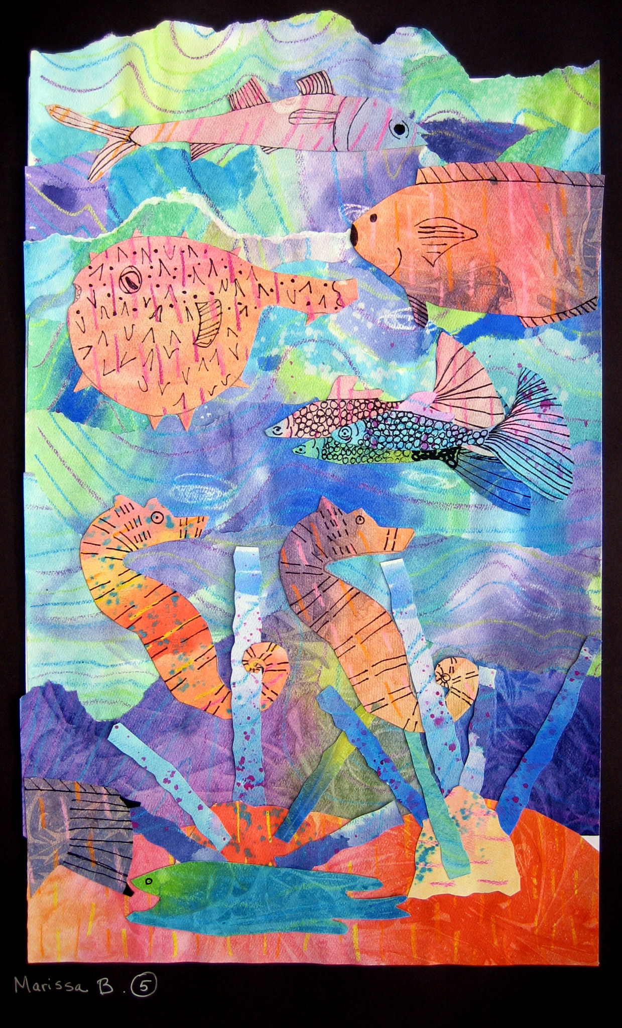Watercolor Seascape Collages Ms Amsler S Artroom